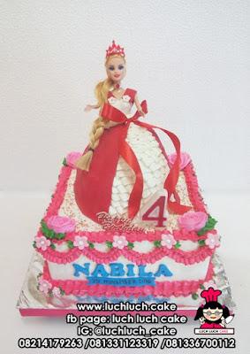 Kue Tart Tingkat Princess Barbie 3d