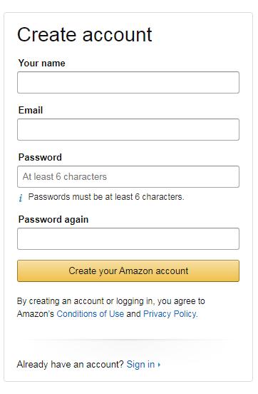 how to create account on amazon