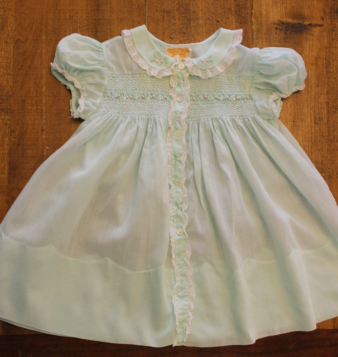 2e4896a09 Lilacs and Springtime  Vintage Smocked Baby Dress