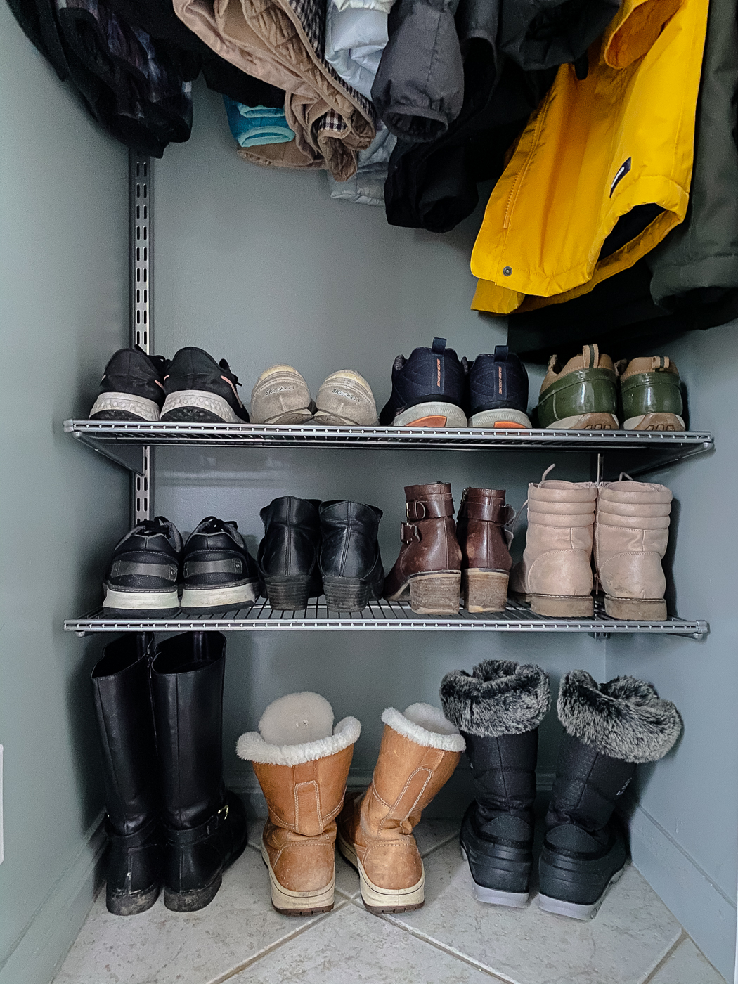 entryway closet organization, small front closet, small closet organization ideas