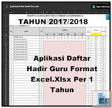 Aplikasi Daftar Hadir Guru Format Excel.Xlsx Per 1 Tahun