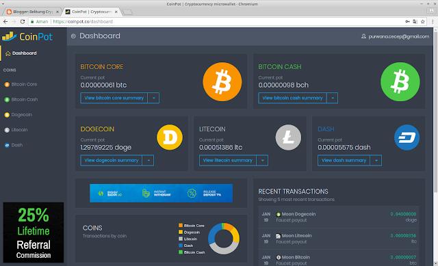 Mendapatkan BitCoin gratis dari Microwallet Coinpot co