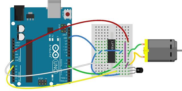 Antarmuka papan Arduino dengan LM35 dan L293D