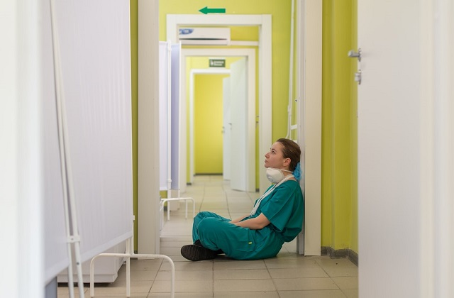 Tired nurse in Moscow