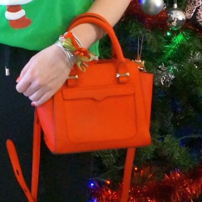 Rebecca Minkoff red micro Avery cross body bag with glitter jingle bells bow bracelet | away from the blue