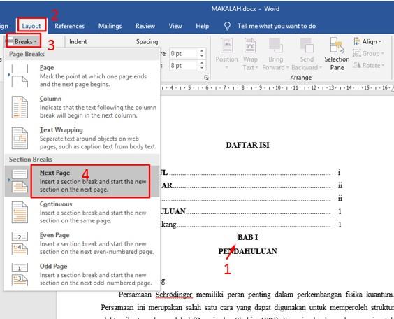 Cara Membuat Nomor Halaman Berbeda Di Microsoft Word