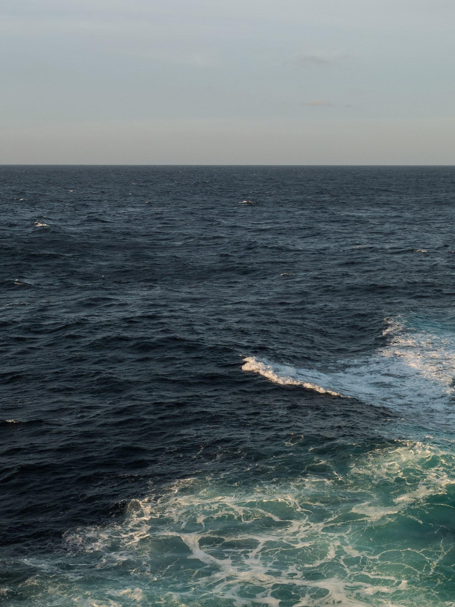 Sunlight shining on the North Atlantic ocean.