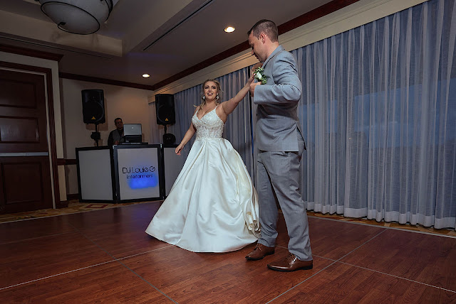 Bride and Groom dancing at Reception for First Look