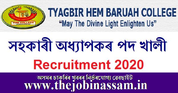Tyagbir Hem Baruah College, Jamugurihat Recruitment 2020