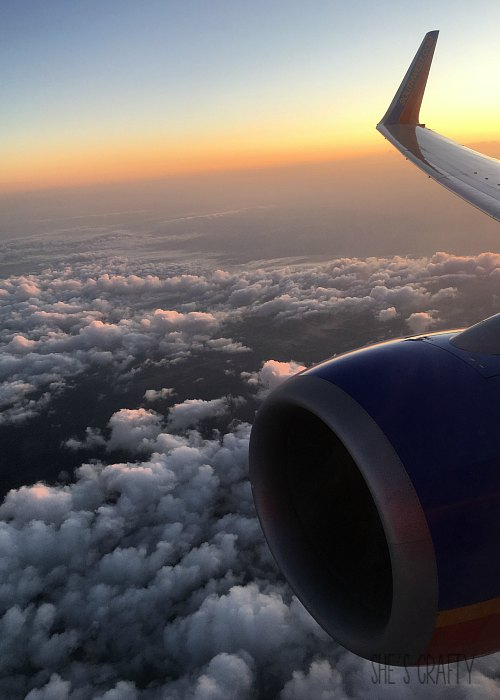 sunrise, airplane wing, southwest airlines