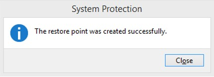 System Restore Point Sukses