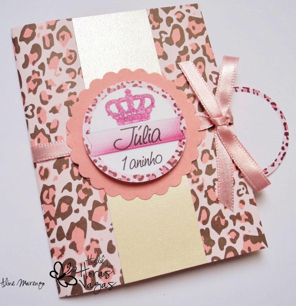 convite artesanal infantil aniversário 1 aninho oncinha rosa pérola bege princesa princess menina