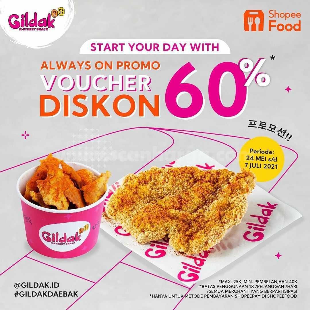 Promo GILDAK Voucher Diskon 60% dari ShopeeFood