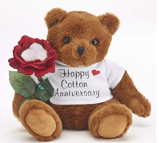 Teddy Bear with cotton rose