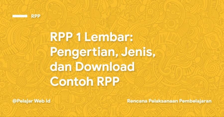 Download Contoh RPP 1 Lembar