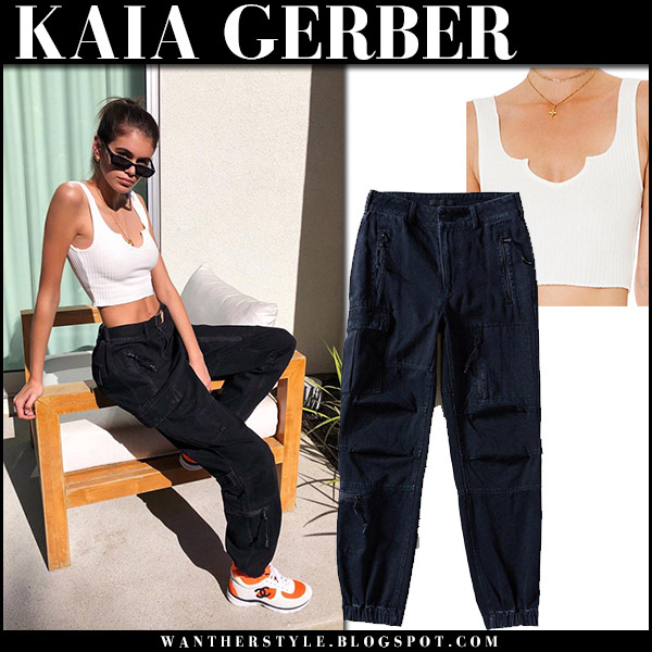 Kaia Gerber in white crop top and black pants alexander wang model style april 11