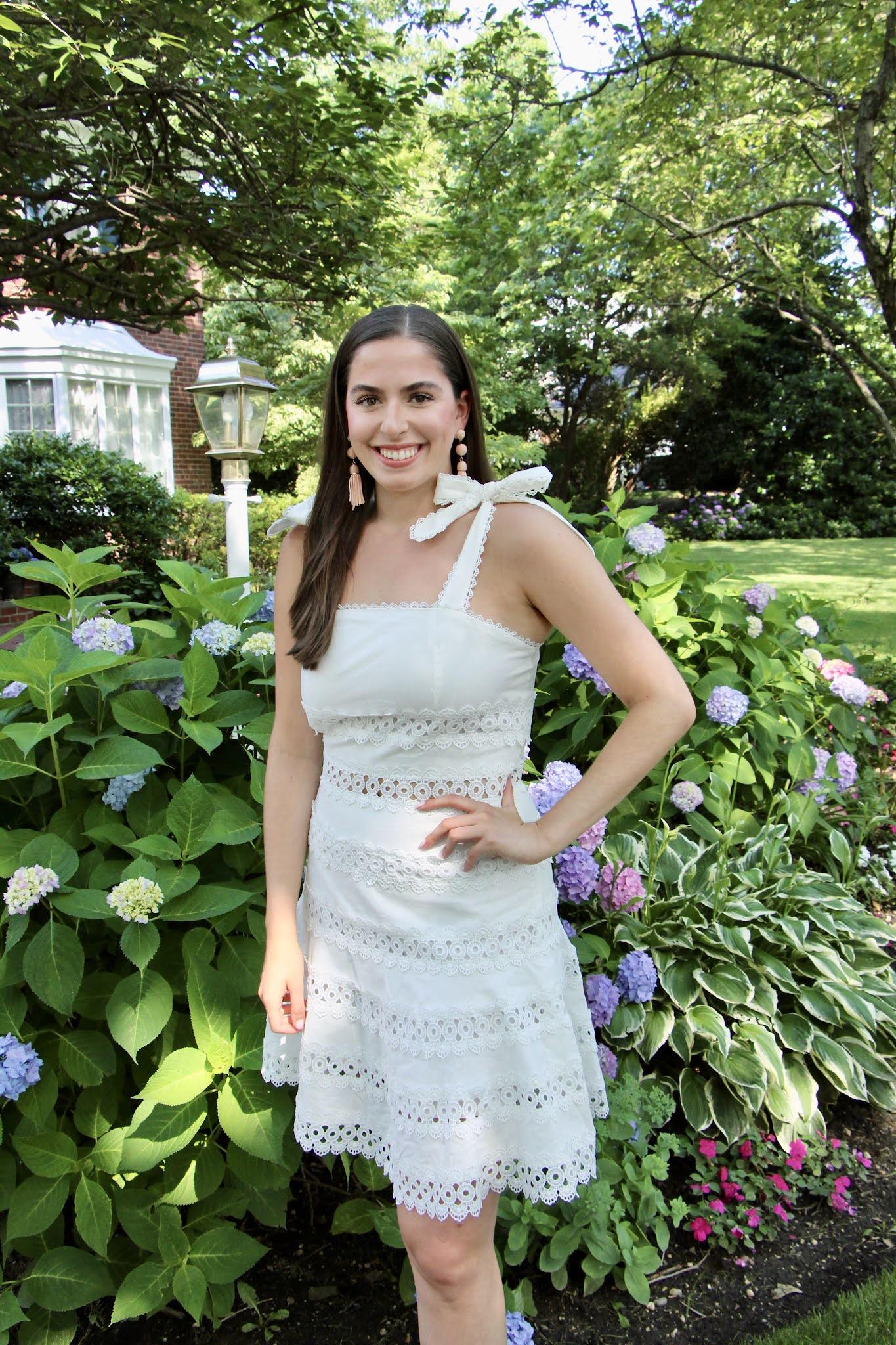 summer white dress, white dress, tie dress, eyelet dress