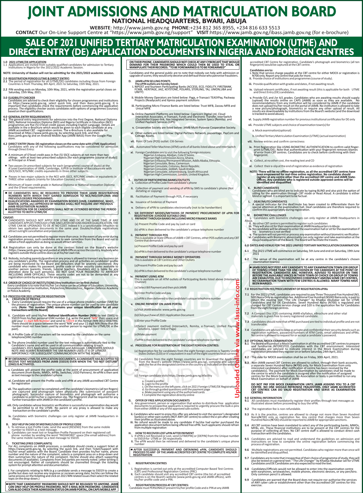 2021 JAMB UTME & DE Registration Form | Instructions & Guidelines