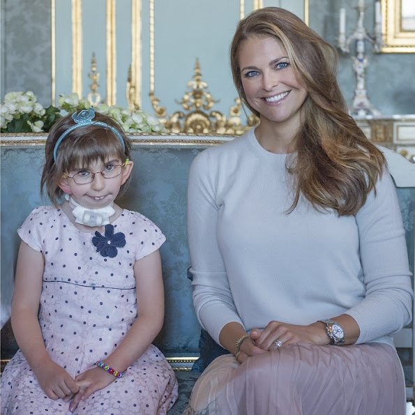 Princess Madeleine is the patron of My Big Day Foundation. Princess Madeleine is the patron of My Big Day Foundation. Princess Leonore at 'Min Stora Dag' party. Princess Madeleine wore VALENTINO Pleated printed silk skirt and Rockstud Pumps