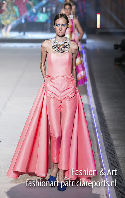 Vassilis Zoulias Madwalk 2018 - pink strapless jumpsuit with veil