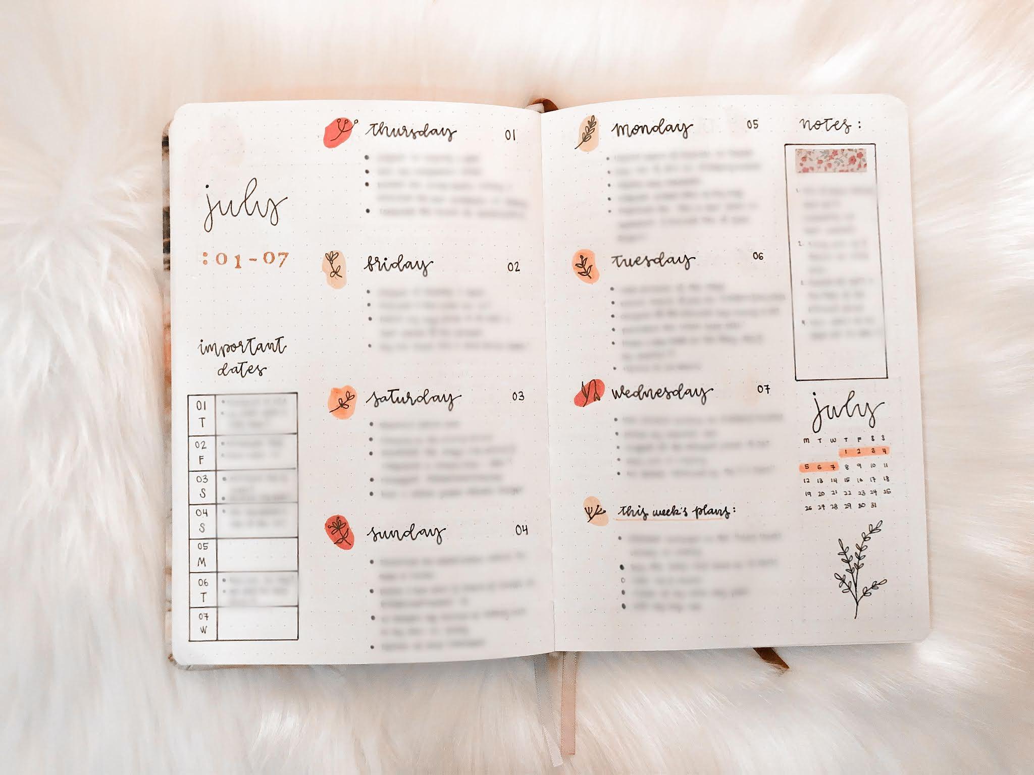 bullet journal july spread flip through