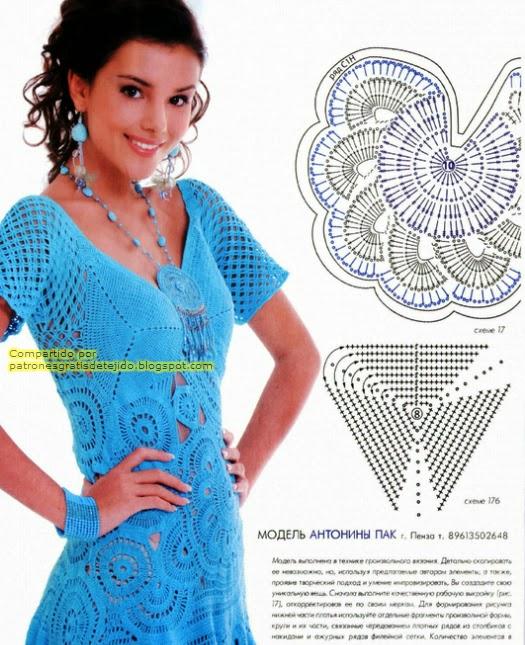 Vestido turquesa al crochet | Crochet y Dos agujas - Patrones de tejido