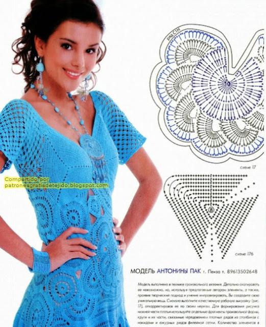 Vestido turquesa al crochet falda campana