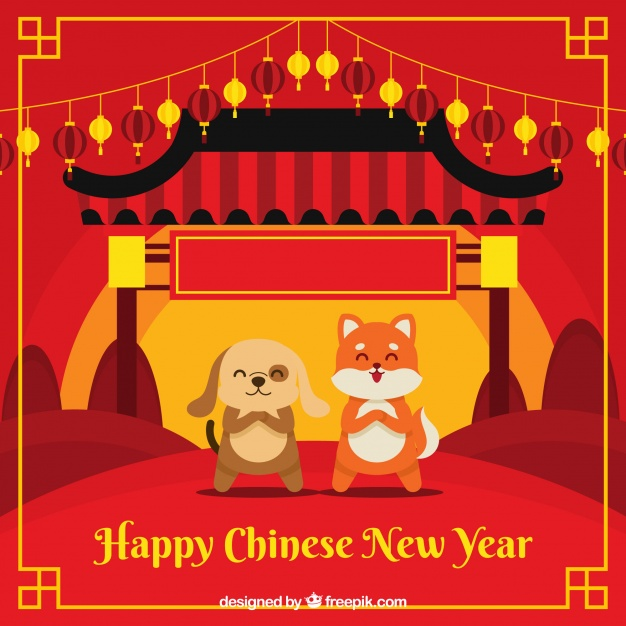 Flat chinese new year background with dog animal illustration Free Vector