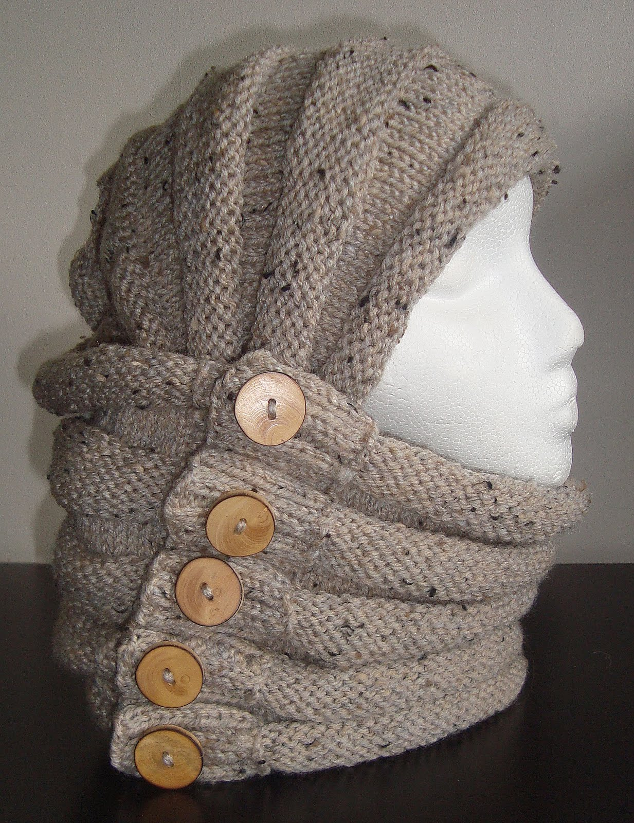 Knitting Pattern Design : Cowl. Hood. Scarf. Shrug. Hand Knitting Pattern. Four ways ...
