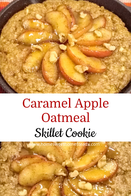 Caramel Apple Oatmeal Skillet Cookie - Home Sweet Homestead - #ad #BacktoSchoolTreats -  A cookie filled with wholesome oats and fresh apples, along with a touch of maple syrup, then topped with buttery sautéed apples, caramel sauce, and a sprinkling of chopped walnuts. You wont believe how tasty it is!