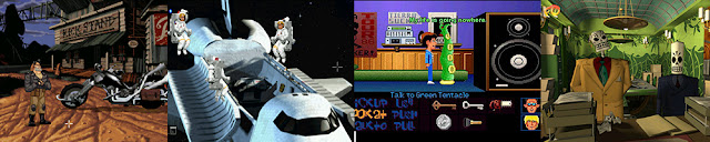 Full Throttle, The Dig, Day of the Tentacle, Grim Fandango, Spielberg