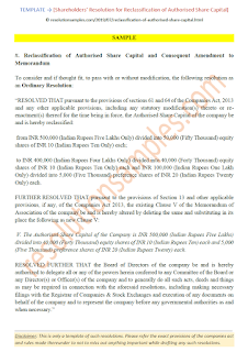 draft resolution for reclassification of authorised share capital