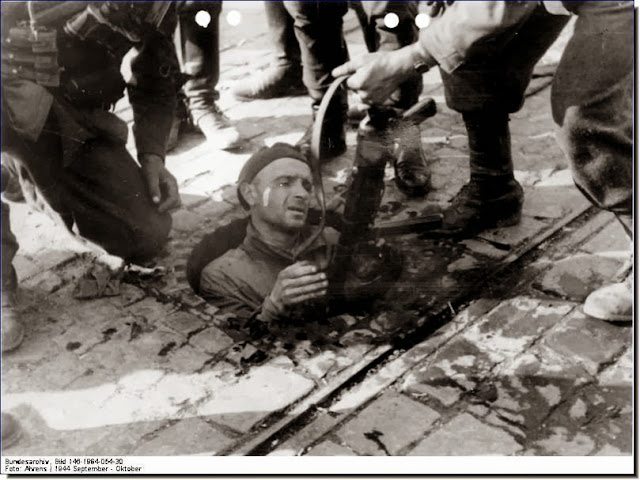 Germans pull out  Armia Krajowa man from  man hole Warsaw Uprising 1944