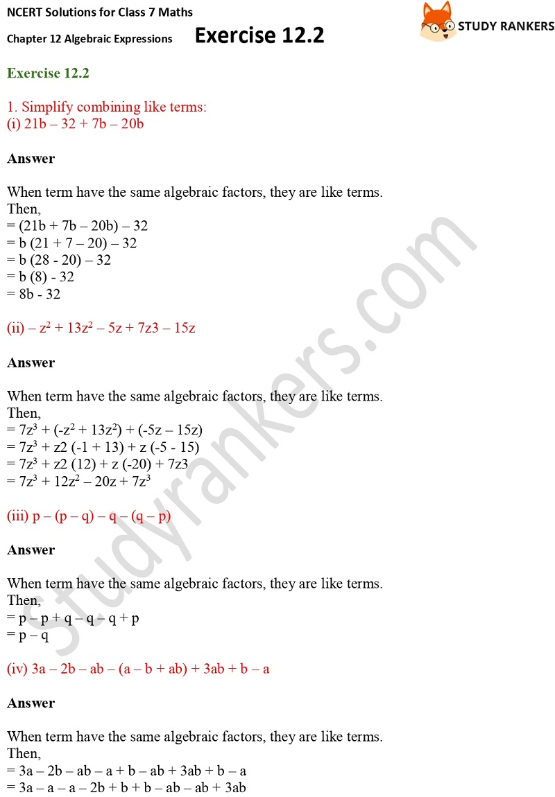 NCERT Solutions for Class 7 Maths Ch 12 Algebraic Expressions Exercise 12.2 1