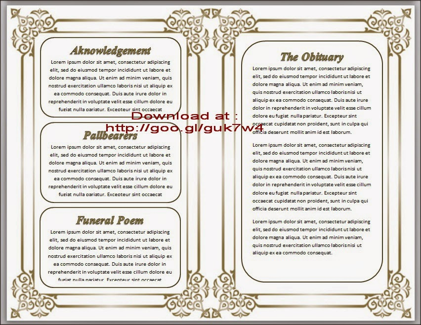 Free Templates For Funeral Programs For Microsoft Word Ideal