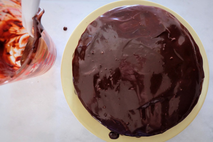frosted chocolate cake with ganache