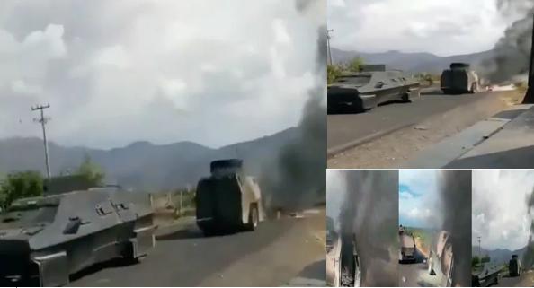 Video: Cárteles Unidos también le dio su arrastrada a El CJNG en Michocán, así remolcaron monstruo blindado aun quemándose con Sicarios del Mencho dentro