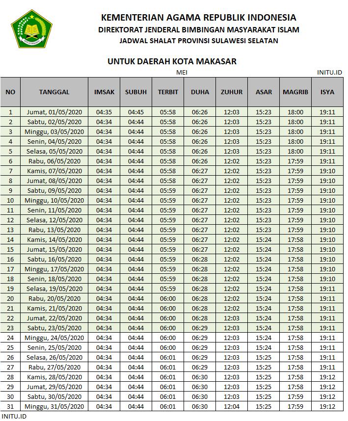 Jadwal Imsakiyah Ramadhan 2020 / 1441 H Kota Makasar