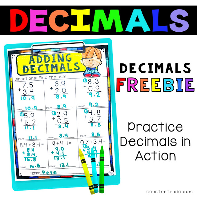 Decimal FREE Activities for Fourth 4th Grade Math