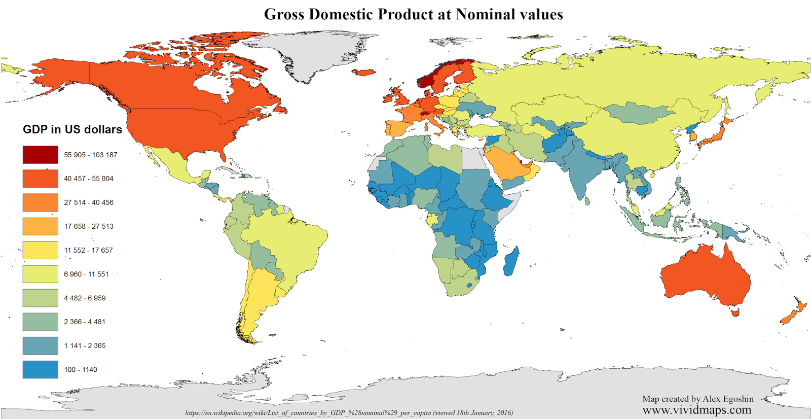 Gross Domestic Product at Nominal values