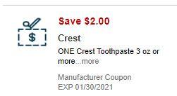 $2.00/1-Crest Toothpaste CVS APP ONLY MFR Coupon (go to CVS App)