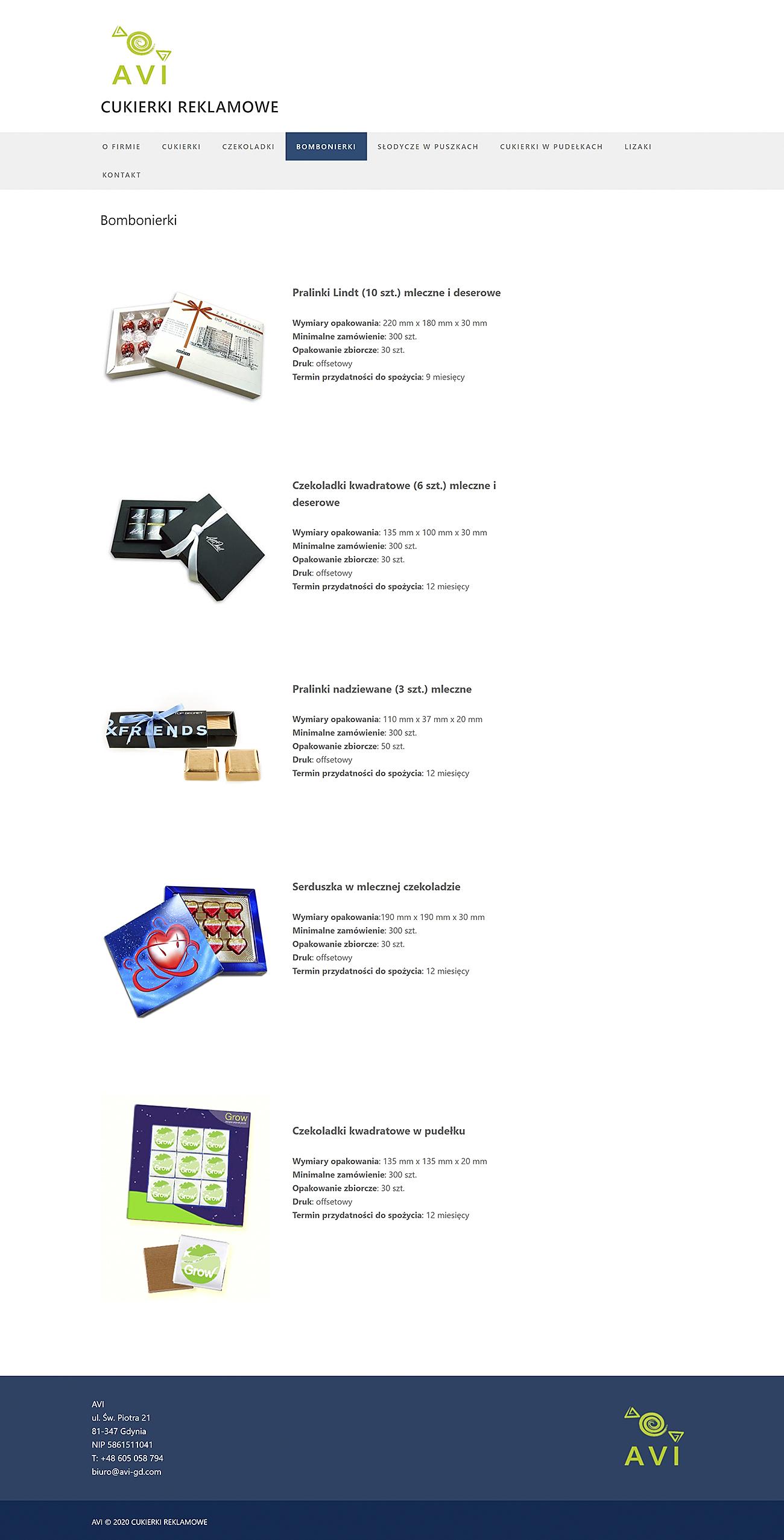 Strona internetowa AVI Cukierki Reklamowe
