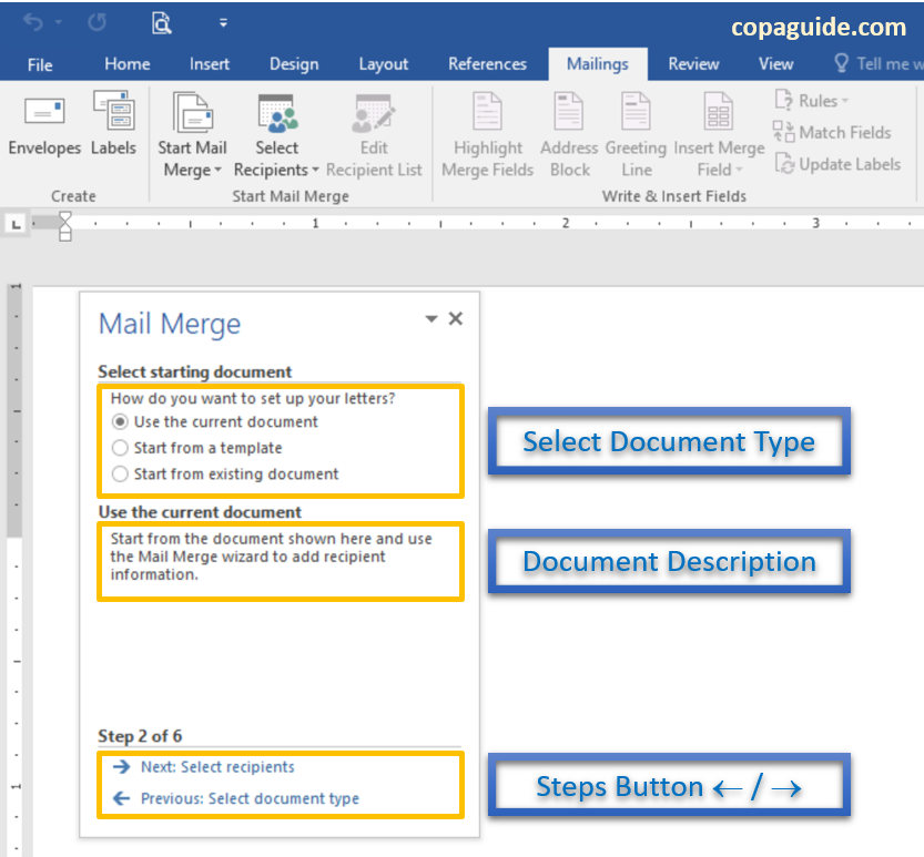 Mail Merge Wizard select starting document in MS-Word Hindi Notes