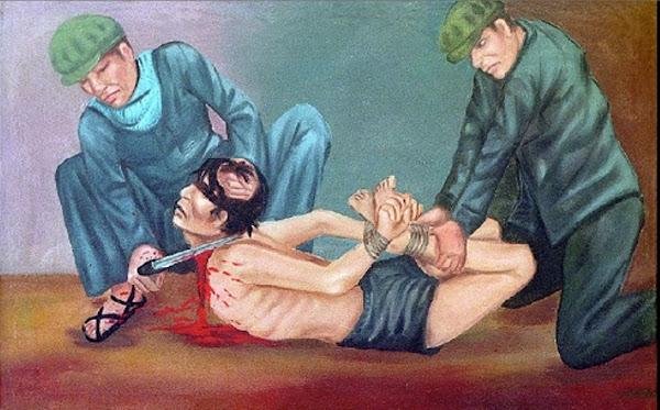 Torture scene by Vann Nath, Macabre Art, Macabre Paintings, Horror Paintings, Freak Art, Freak Paintings, Horror Picture, Terror Pictures