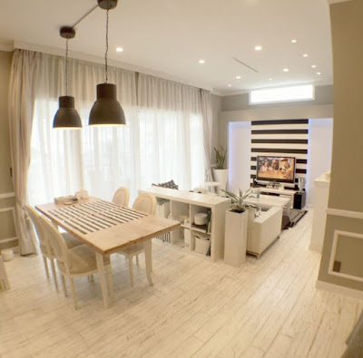 Scandinavian interior decor for one room apartment