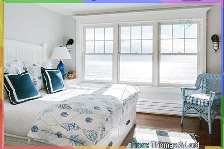 غرف نوم نمط بحرية بالأزرق والرمادي في الجدران