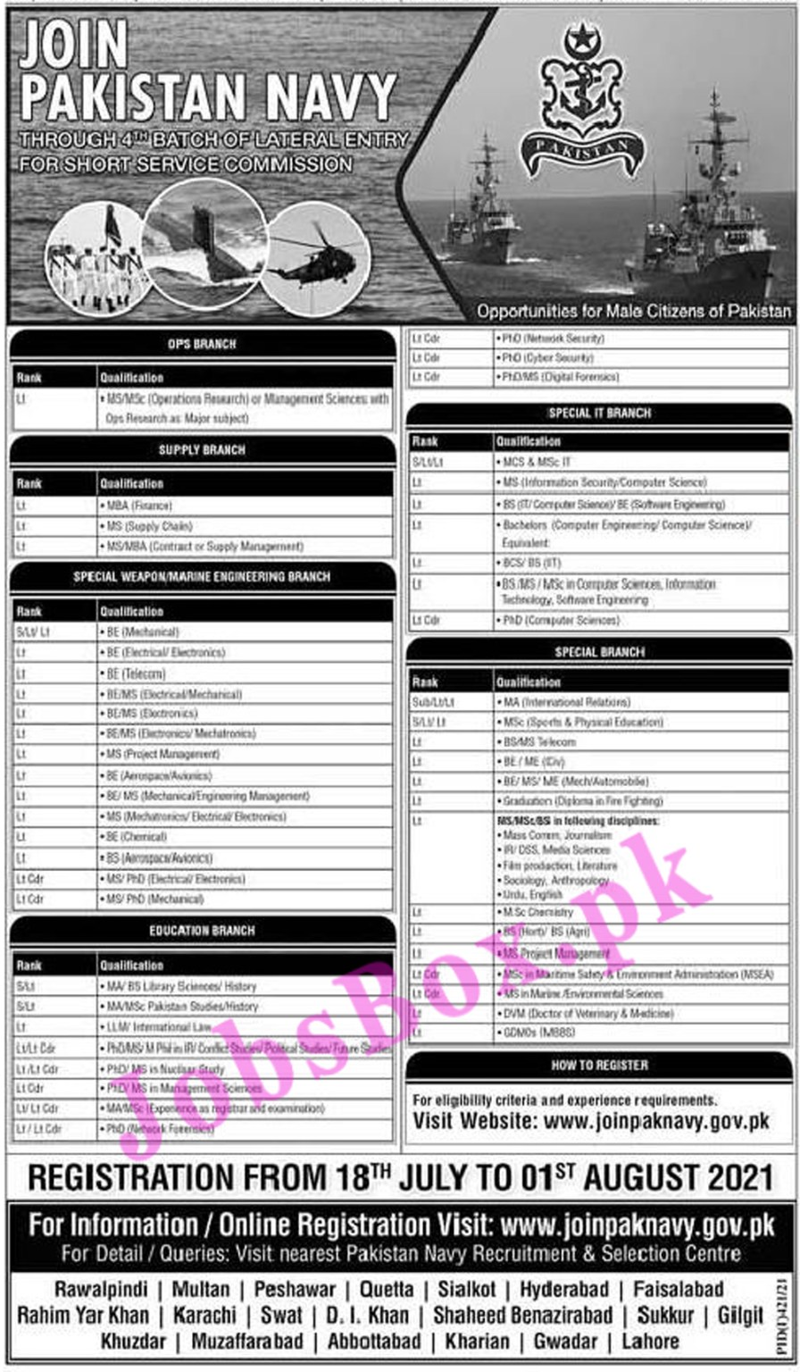 www.joinpaknavy.gov.pk Jobs 2021 - Join Pakistan Navy Through 4th Batch of Lateral Entery For Short Service Commission Jobs 2021 in Pakistan