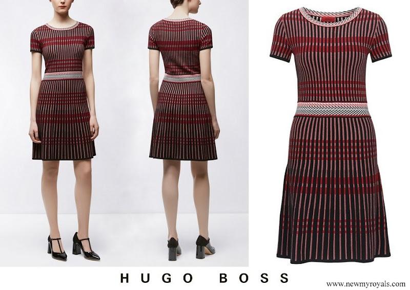 Crown Princess Leonor Hugo Boss patterned slim fit dress in style Suzetta
