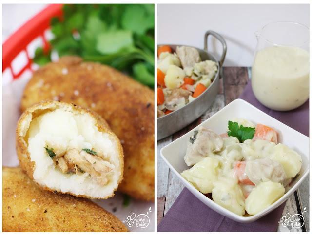 Croquette Pommes de terre Poulet Échalotes Confites Persil Sauté de Porc Carottes