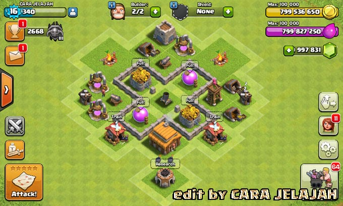 Desain Base Hybrid Clash Of Clans Town Hall 3 Update Terbaru 11